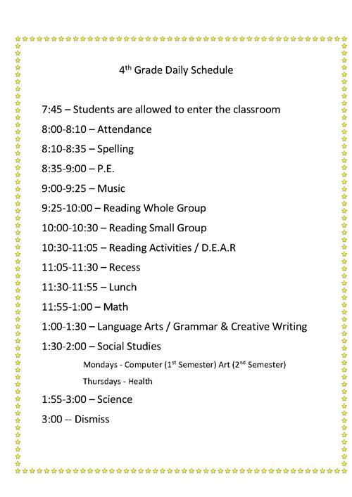Baumann, Leah - Grade 4 / Daily Schedule